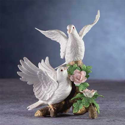 22803 Porcelain Doves On Branch
