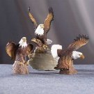27135 Set Of 3 Porcelain Eagles On Trunk