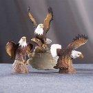 27135 Set Of 3 Porcelain Eagles On Trunk