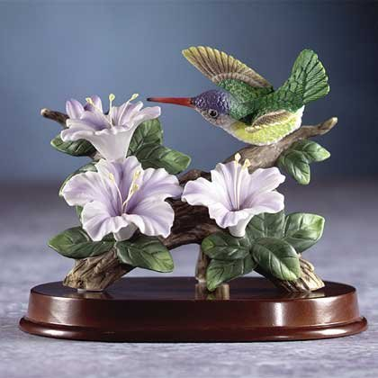 29309 Porcelain Hummingbird At Flower