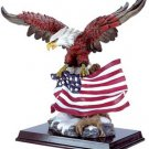 30840 Alabastrite Eagle With Flag On Wood Base