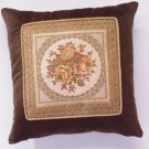 35513 Brown Velvet Floral Cushion