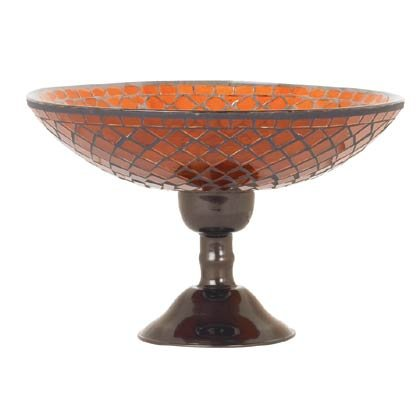 35620 Amber Mosaic Glass Compote