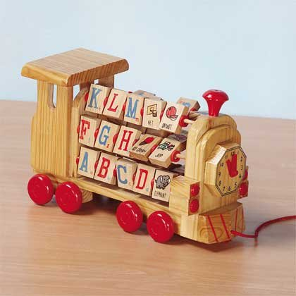 25839 Alphabets and Numbers Wood Block Train