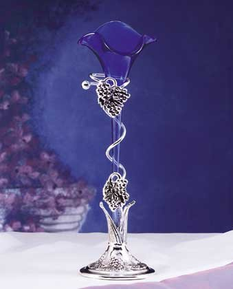 28513 Blue Lily Vase With Silver-Plated Base