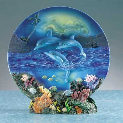 29007 Alabastrite Dolphin Plate With Stand