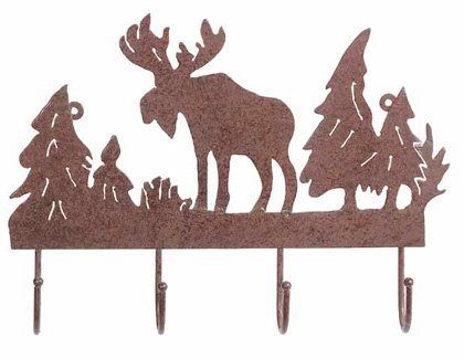 "30333 Rusted Metal ""Moose"" Coat Hanger"