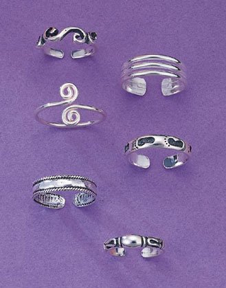 30924 1 DZ Trendy Toe Rings (Retail - 4.99ea.)