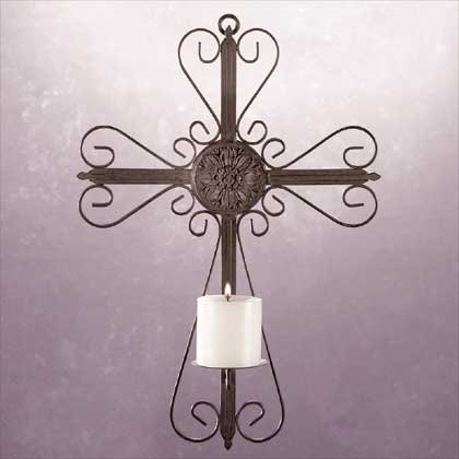 31153 Metal Cross Wall Candleholder