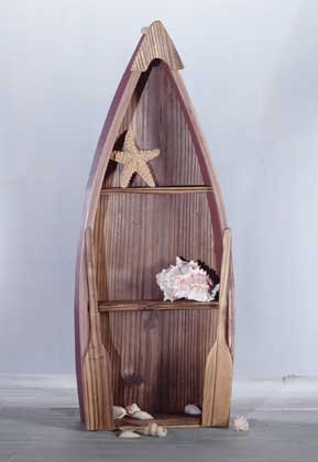31182 Wood Antique-Finished Rowboat Wall Shelf