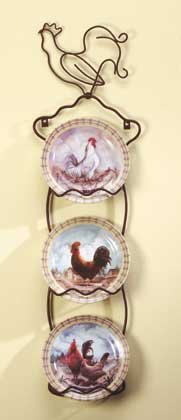 31185 4-Piece Porcelain Rooster Plate Set With Display