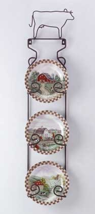 31186 4-Piece Porcelain Farm-Scene Plate Set With Display