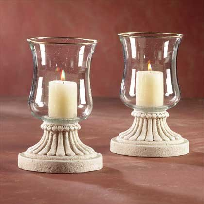 31503 Pair of Glass Hurricane Candleholders