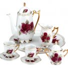 31525 10-Piece Porcelain Red Rose Tea Set