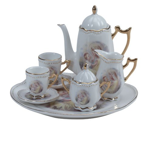 31526 10-Piece Porcelain Madonna & Child Tea Set