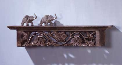 31602 Wood Carved Wall Shelf