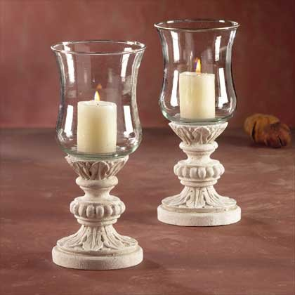 31679 Glass Candleholders Sandstone Finish Base