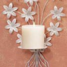 32033 Metal White Floral Candleholder