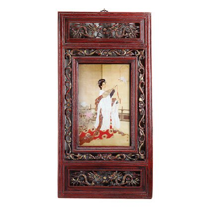 32055 Carved-Frame Chinese Noblewoman Picture