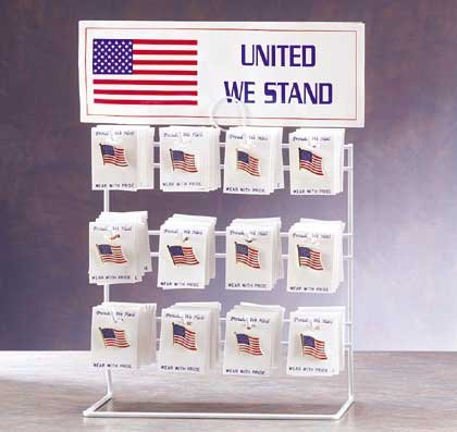 32103 8 DZ American Flag Pins with Display (Retail - 1.99ea.)