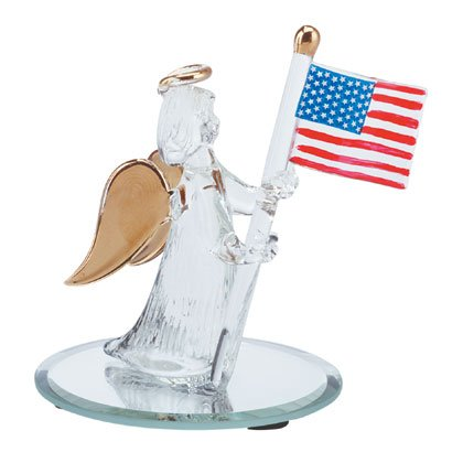 32169 Spun Glass Angel with Flag