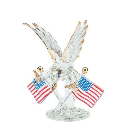 32171 Spun Glass Eagle with Flags