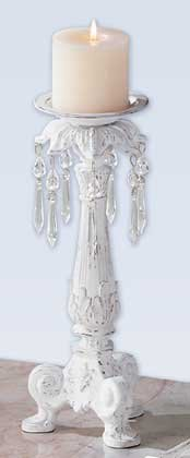 32181 Distressed White Candleholder