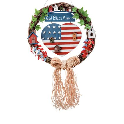 32345 Wood God Bless America Wreath