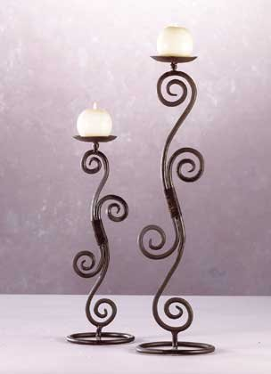 32395 Wrought Iron Scroll Candleholders