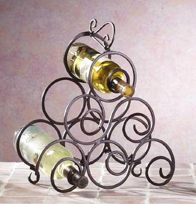 32405 Wrought Iron Swirl Wine Rack
