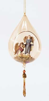32413 Glass Angels and Baby Jesus Christmas Ornament