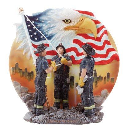 32420 Firemen Raising Flag Plate
