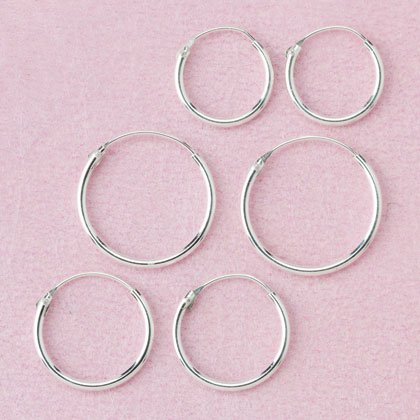 32444 2 Dozen Sterling Silver Hoop Earrings (Retail - 2.99pr.)
