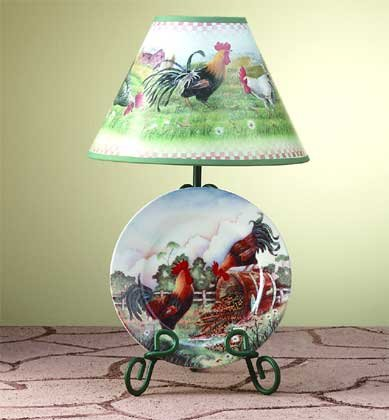 32453 Rooster Plate and Lamp