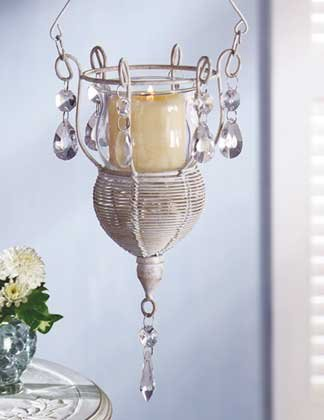 33003 Distressed White Metal Hanging Votive Holder