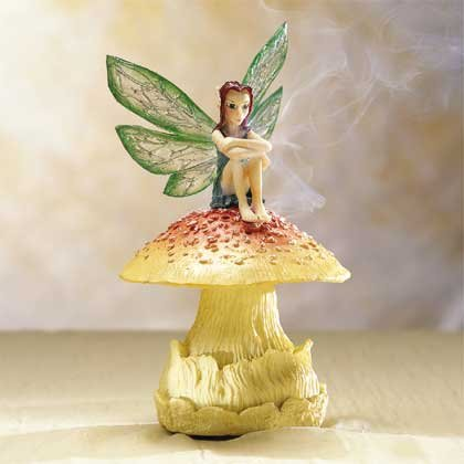33075 Fairy on Mushroom Incense Burner