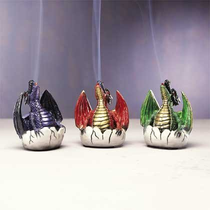 33077 6 Dragon and Egg Incense Burners