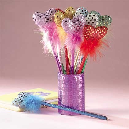 33126 1-Dozen Fabric Heart and Boa Pens