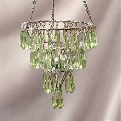33151 Hanging Votive Holder with Green Pendants