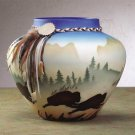 33158 Southwestern Vase with Buffalo