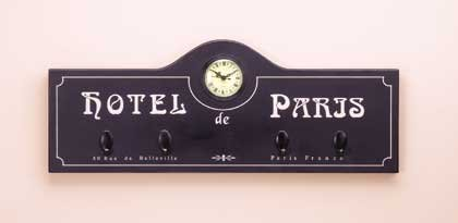 33169 Hotel de Paris Coat Hanger Clock