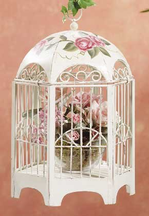 33209 Distressed Beige Metal Birdcage