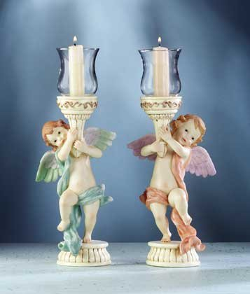 33225 Cherub Votive Holders Pair