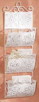 33264 Distressed White Metal Hanging Letter Holder