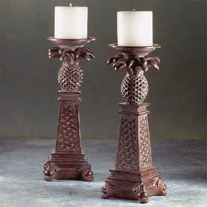 33306 Pineapple Candle Holders (Pair)
