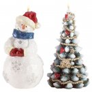 33557 Snowman and Christmas Tree Candles
