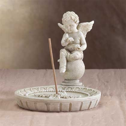 33567 Cherub Round Incense Holder