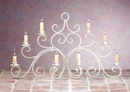 33586 Distressed Ivory Wrought Iron Candelabra