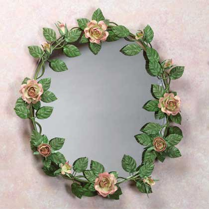 33595 Metal Rose Wall Mirror