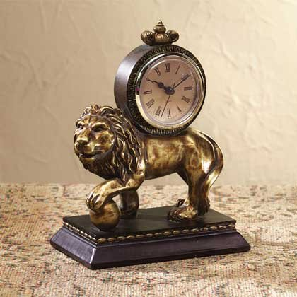 33615 Antique-Look Lion Desk Clock